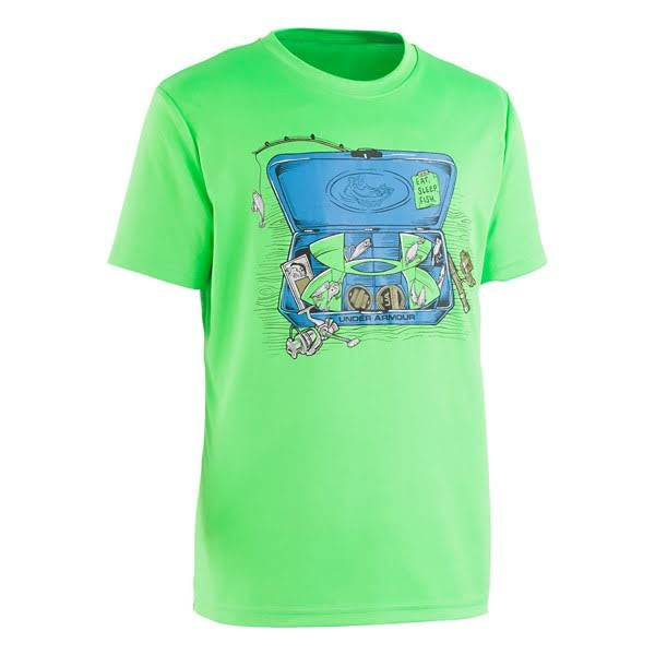 Under Armour lime green tackle box  shirt