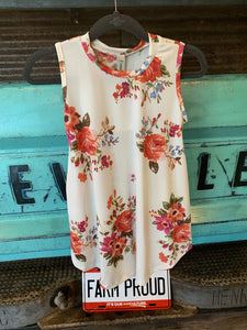 Pomelo Floral Cream Tunic with pockets