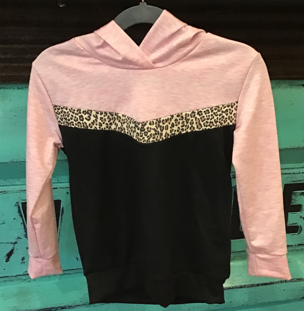 Hoodie with Leopard Print Accent