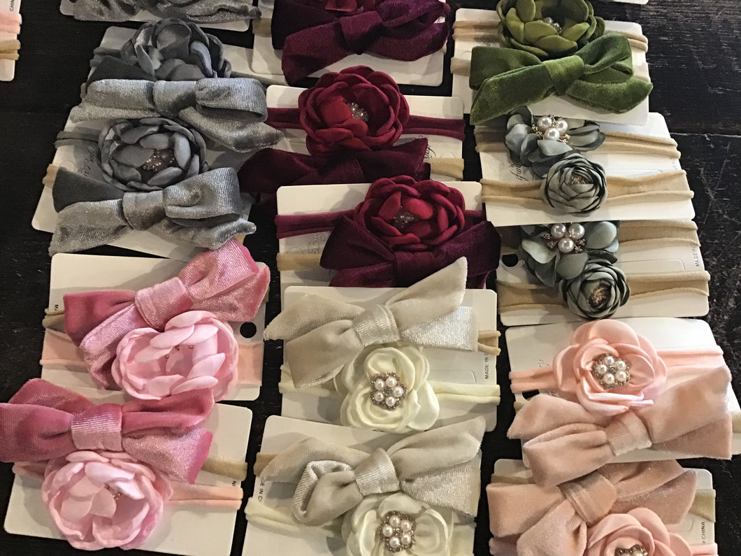 2pc Floral/Velvet hair bow headband