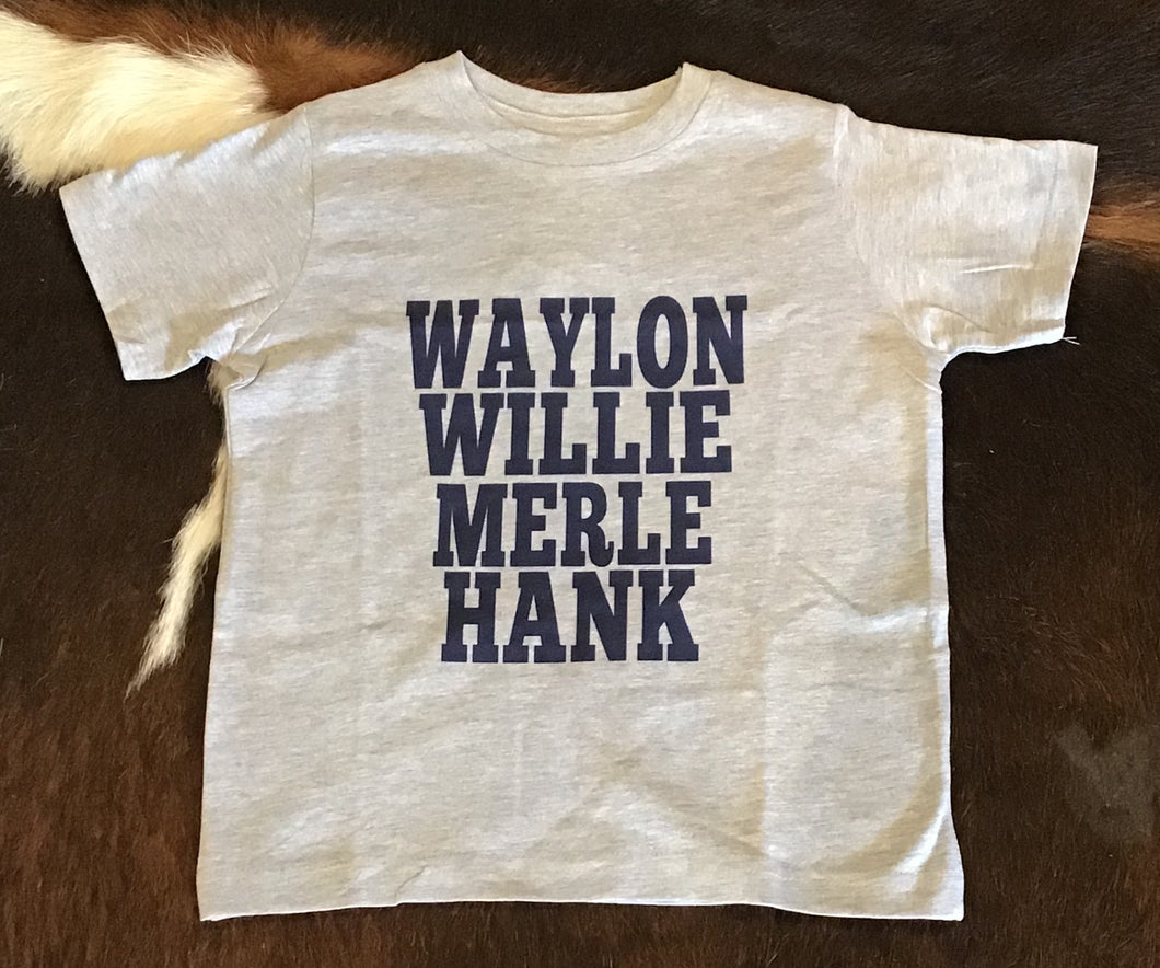 Waylon-Willie-Merle-Hank Grey/Navy Tee