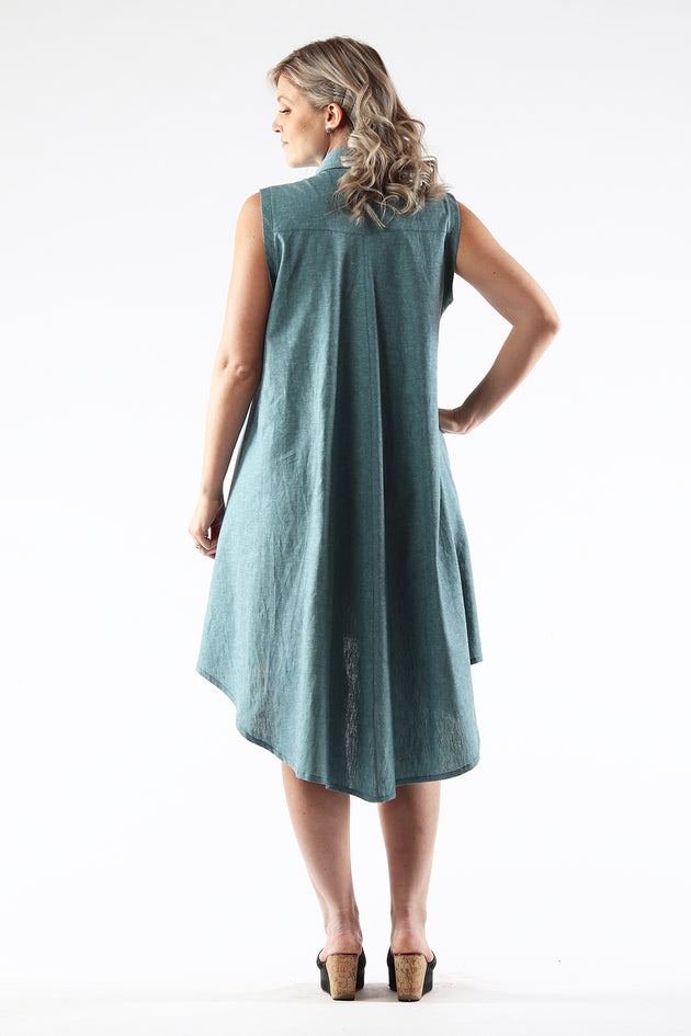 Hi-Lo Sleeveless Dress - AMANDA - Ocean Linen - back - Lennard Taylor
