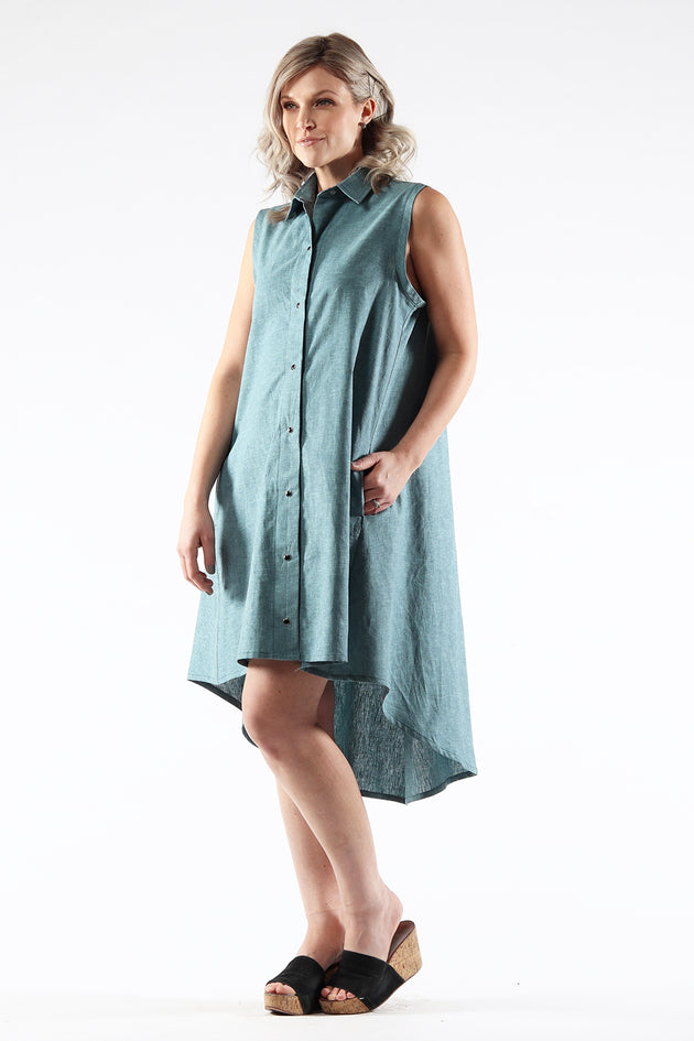 Hi-Lo Sleeveless Dress - AMANDA - Ocean Linen - side - Lennard Taylor