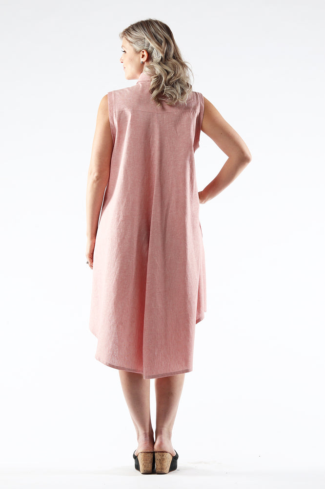 Hi-Lo Sleeveless Dress - AMANDA - Salmon Linen - back - Lennard Taylor