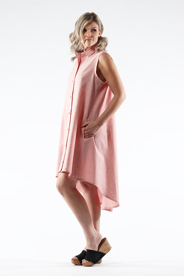Hi-Lo Sleeveless Dress - AMANDA - Salmon Linen - side - Lennard Taylor