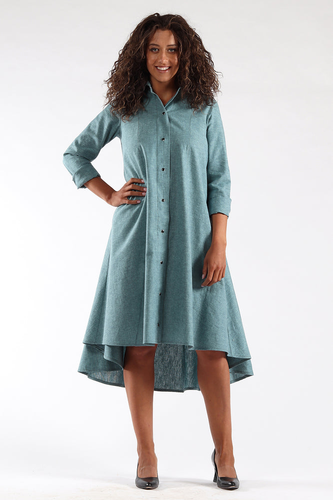 Beatrix dress-knee length-button up-ocean-front-Lennard Taylor