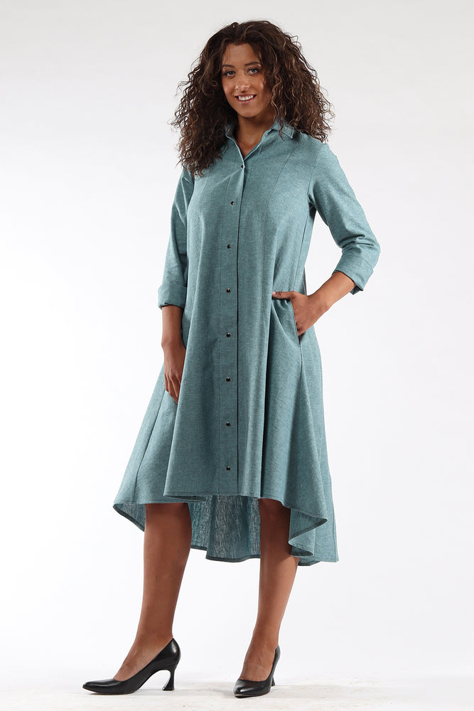 Beatrix dress-knee length-button up-ocean-back-Lennard Taylor