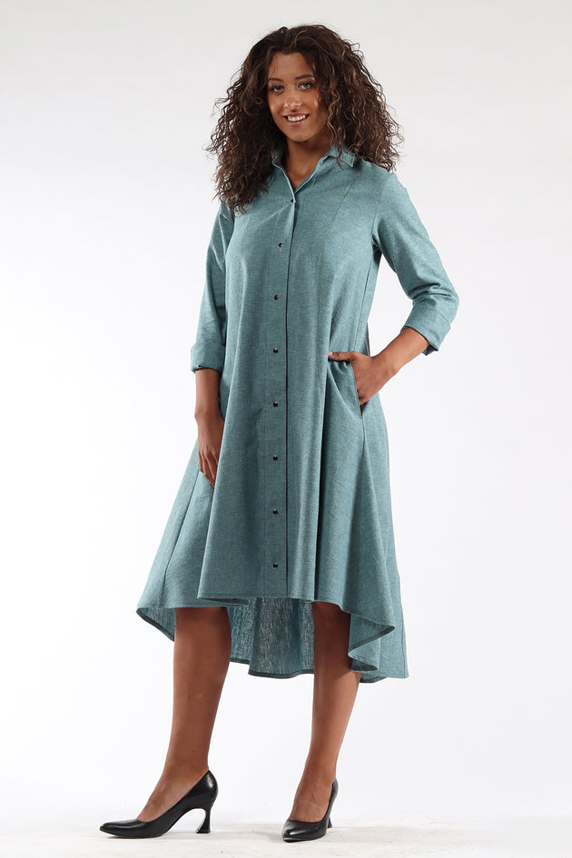 Beatrix dress-knee length-button up-ocean-side-Lennard Taylor