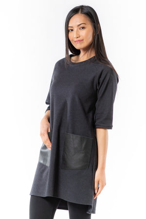 Betsi Tunic - pewter houndstooth - side - Lennard Taylor