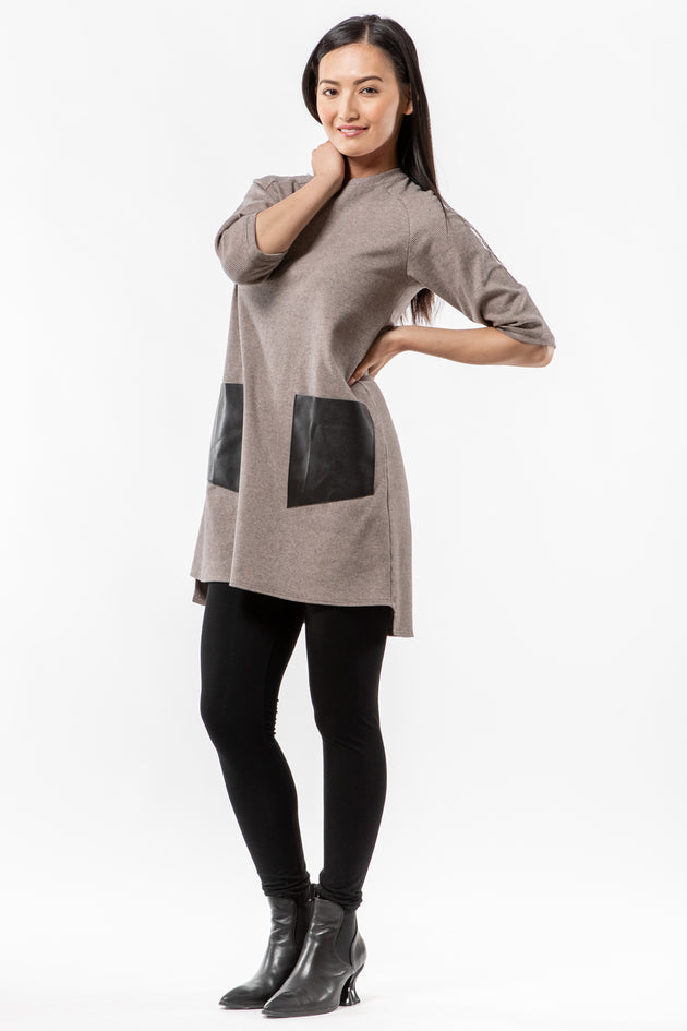 Betsi Tunic - clay houndstooth - front - Lennard Taylor