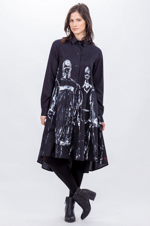 black Beatrix dress - hand painted in white - Lennard Taylor Original