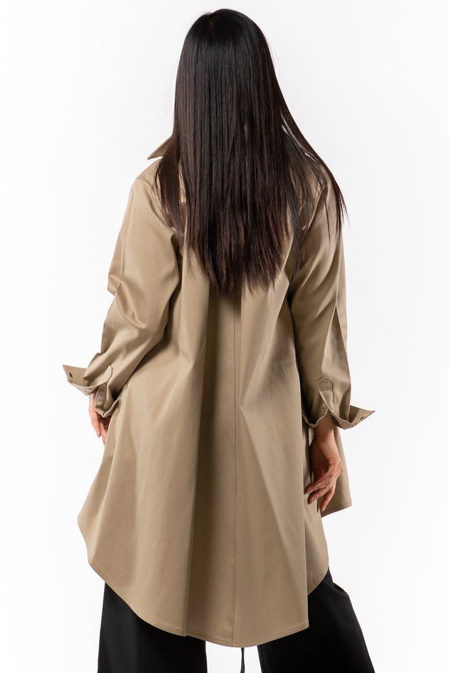 Brenda Swing Jacket - khaki denim - back view on model - Lennard Taylor