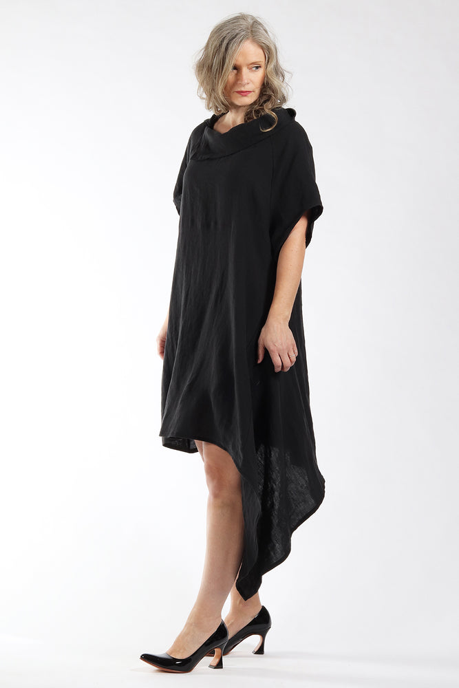 Danika Dress - black linen - front view 2 - Lennard Taylor