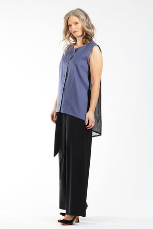 Diana Top - blue linen - side view 1 - Lennard Taylor