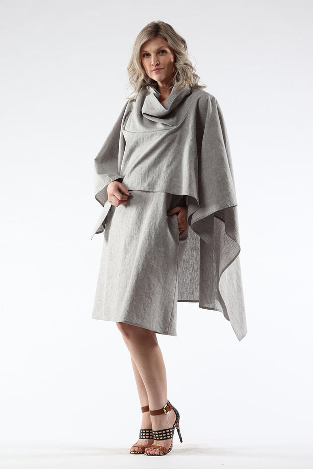 Diane Dress - grey - front View - Lennard Taylor