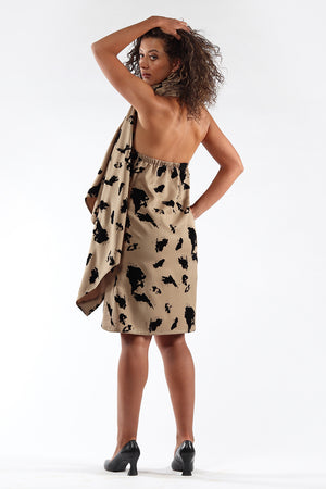 Blackless, cape, dress, DIANE - taupe flock - back view - Lennard Taylor