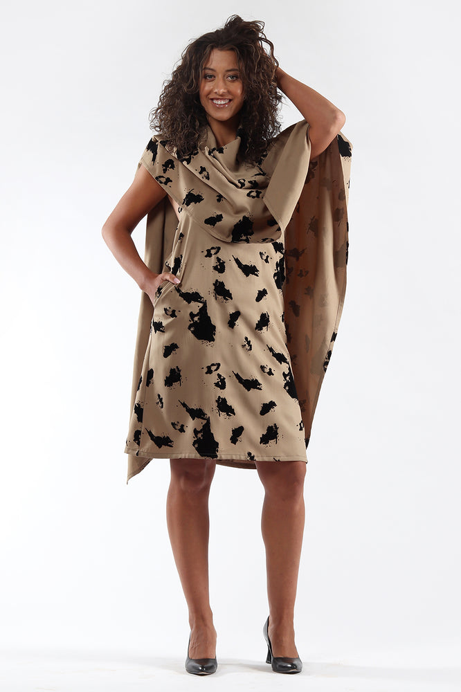 Blackless, cape, dress, DIANE - taupe flock - front view - Lennard Taylor