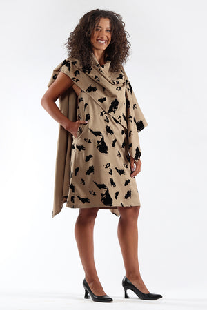 Blackless, cape, dress, DIANE - taupe flock - side view 2 - Lennard Taylor