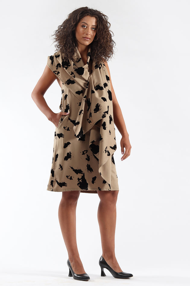 Blackless, cape, dress, DIANE - taupe flock - side view - Lennard Taylor