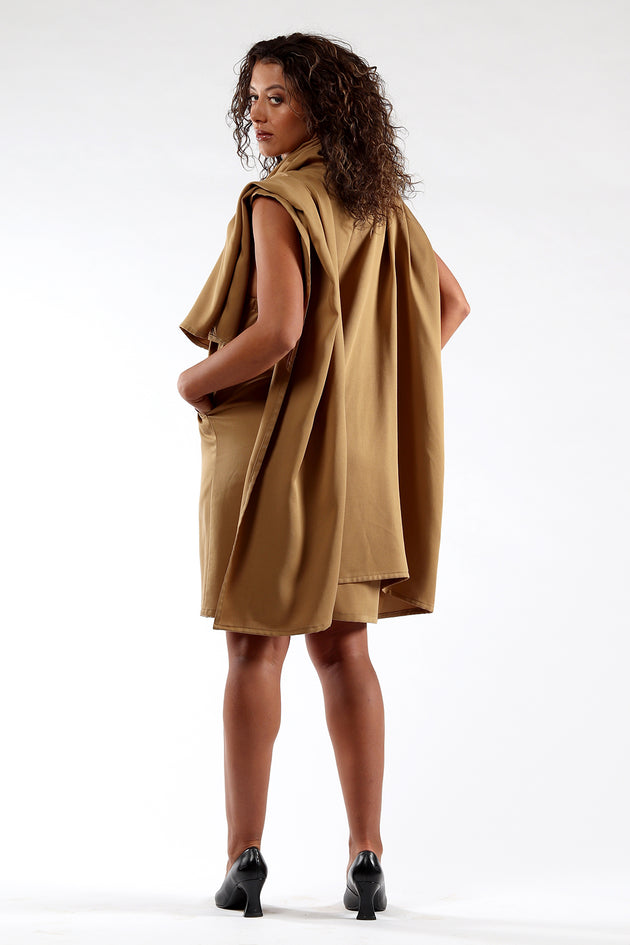 Blackless, cape, dress, DIANE - Ochre - back view - Lennard Taylor