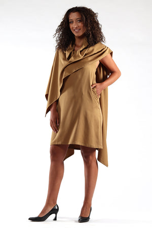 Blackless, cape, dress, DIANE - Ochre - side view - Lennard Taylor