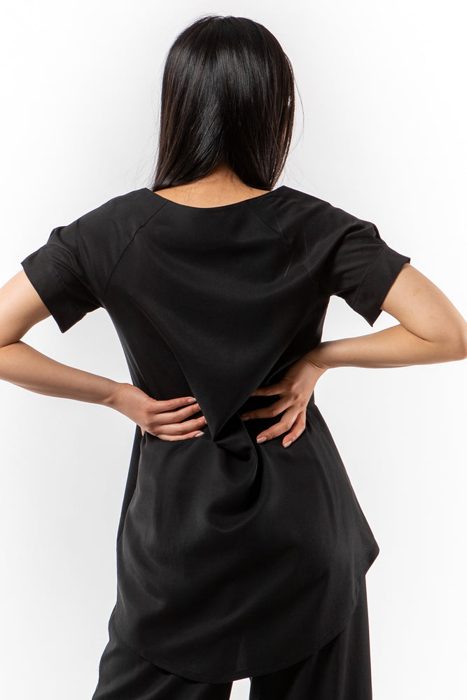 Genie Top - Black Tencel - back view on model - Lennard Taylor
