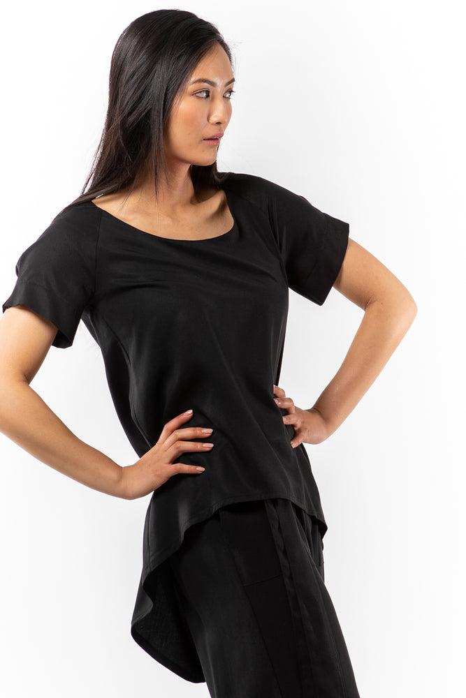 Genie Top - Black Tencel - side view on model - Lennard Taylor