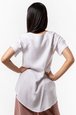 Genie Top - white Tencel - back view on model - Lennard Taylor