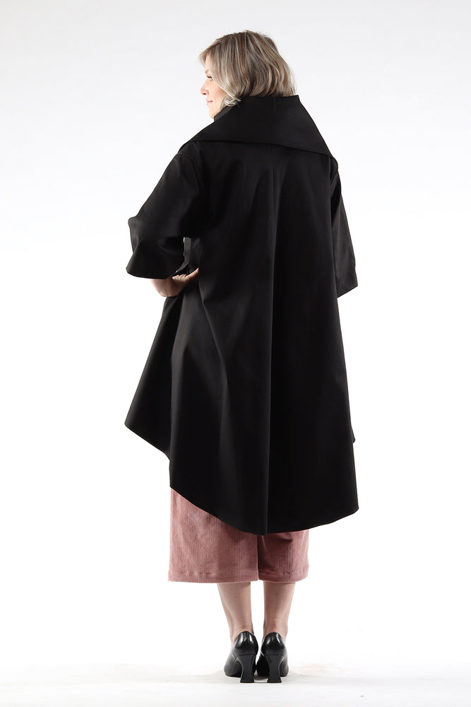 Jojo coat - cotton twill - black - back view - Lennard Taylor