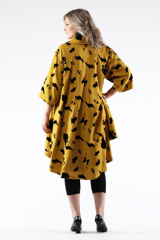 Jojo Coat - Gold Tencel - back view - Lennard Taylor