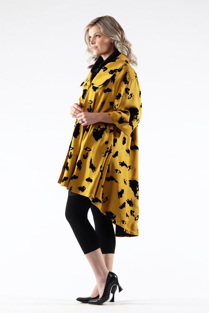 Jojo Coat - Gold Tencel - side view - Lennard Taylor