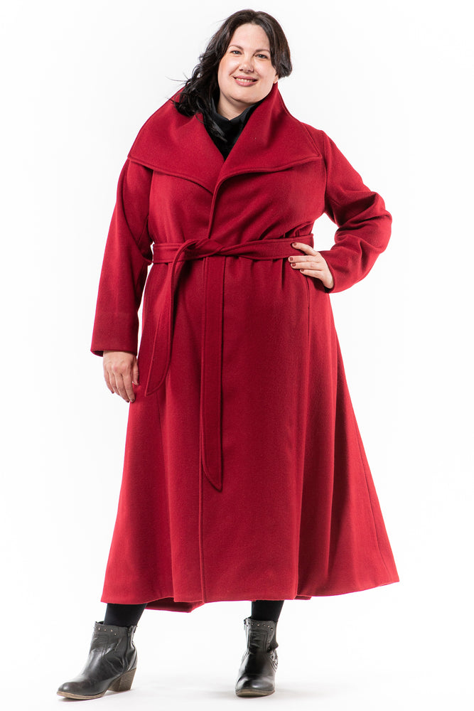 Lennard Taylor - wrap front long coat - JORDAN - cherry wool - front