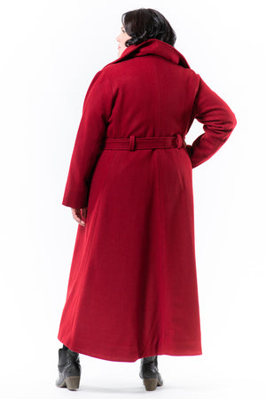Lennard Taylor - wrap front long coat - JORDAN - cherry wool - back