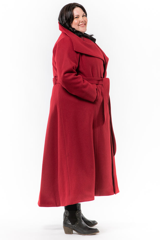 Lennard Taylor - wrap front long coat - JORDAN - cherry wool - side