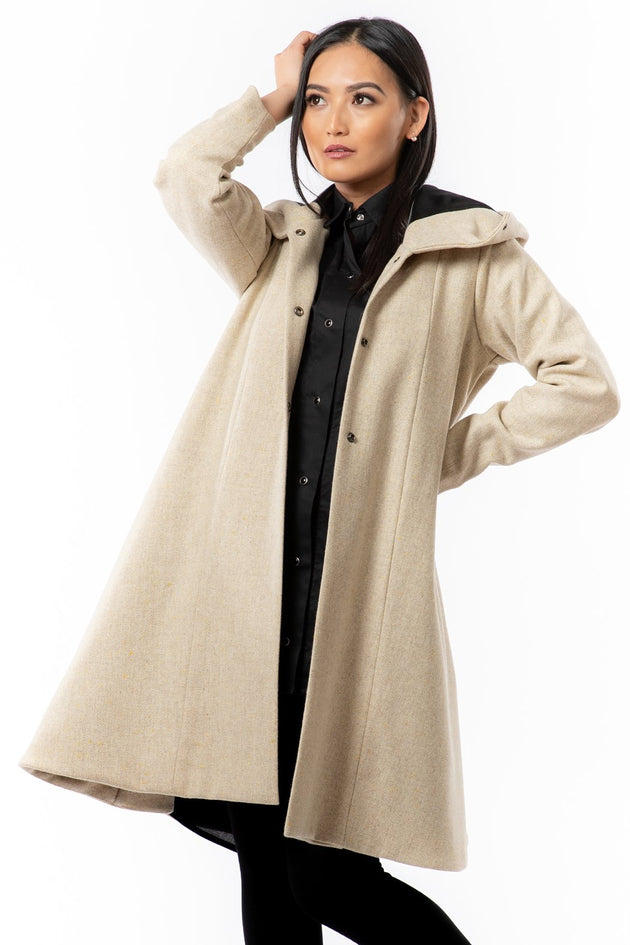 Karol Coat - oatmeal surprise print - front view open - Lennard Taylor