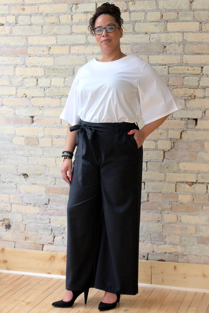 Belted Palazzo Pant - Victoria - Black Wool - Lennard Taylor