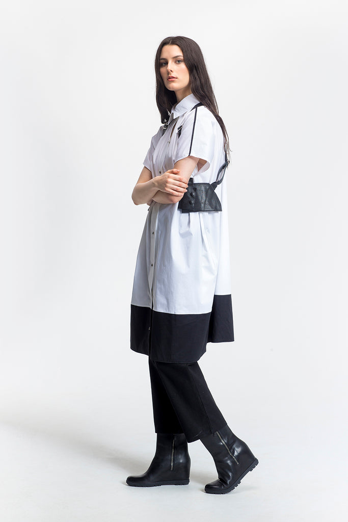 "White Colour Block Oversized Shirt Dress-""Fran""-side view-Lennard Taylor"