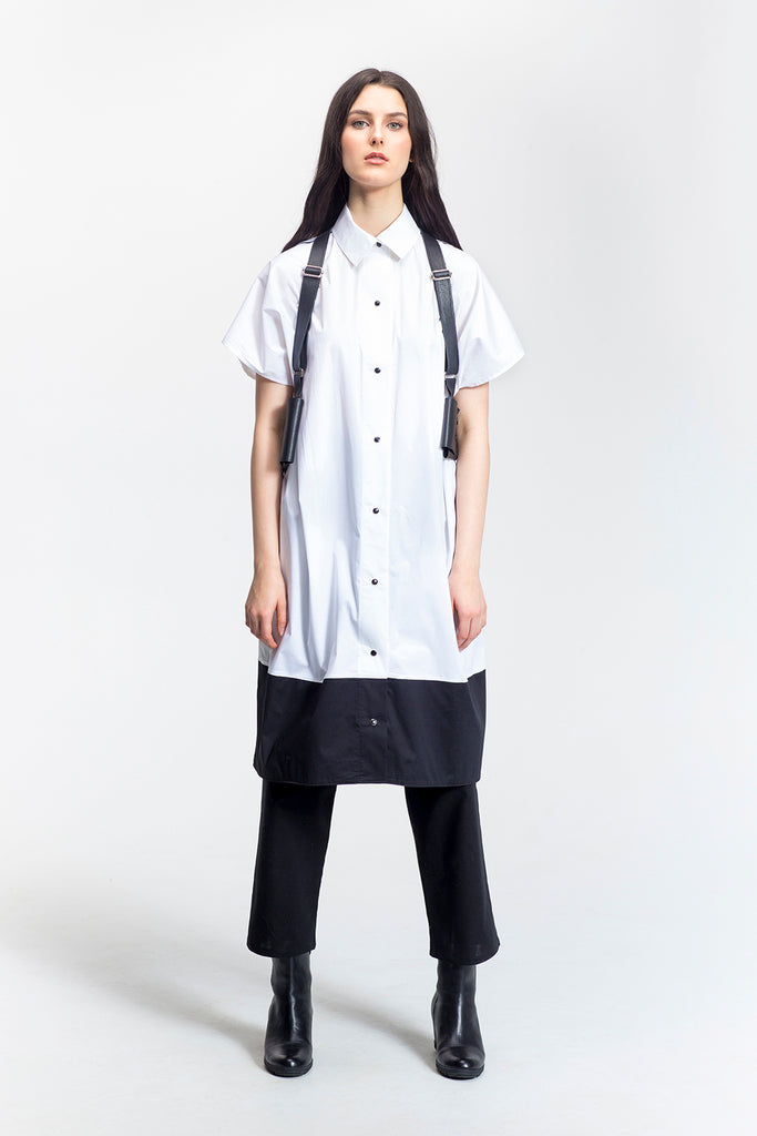 "White Colour Block Oversized Shirt Dress-""Fran""-front view-Lennard Taylor"