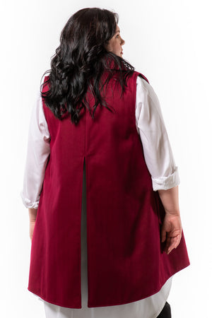 MELVA vest - Merlot - back view on model - Lennard Taylor