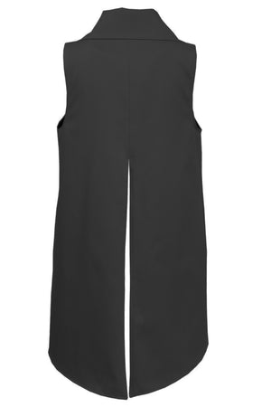 MELVA Vest - black cotton - back flat lay - Lennard Taylor