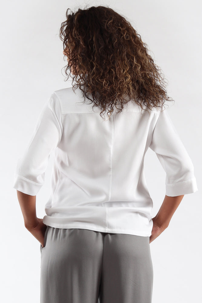 Nikki Top - White Tencel - back View - Lennard Taylor