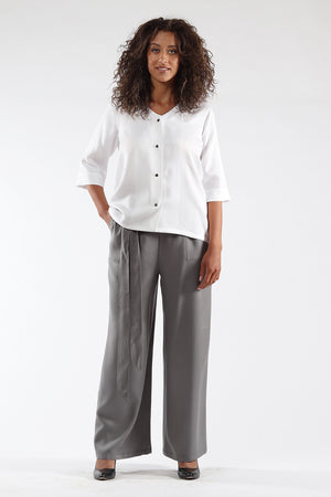Nikki Top - White Tencel - Front View - Lennard Taylor
