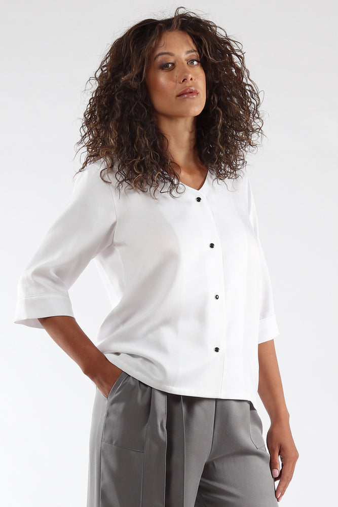 Nikki Top - White Tencel - side View - Lennard Taylor
