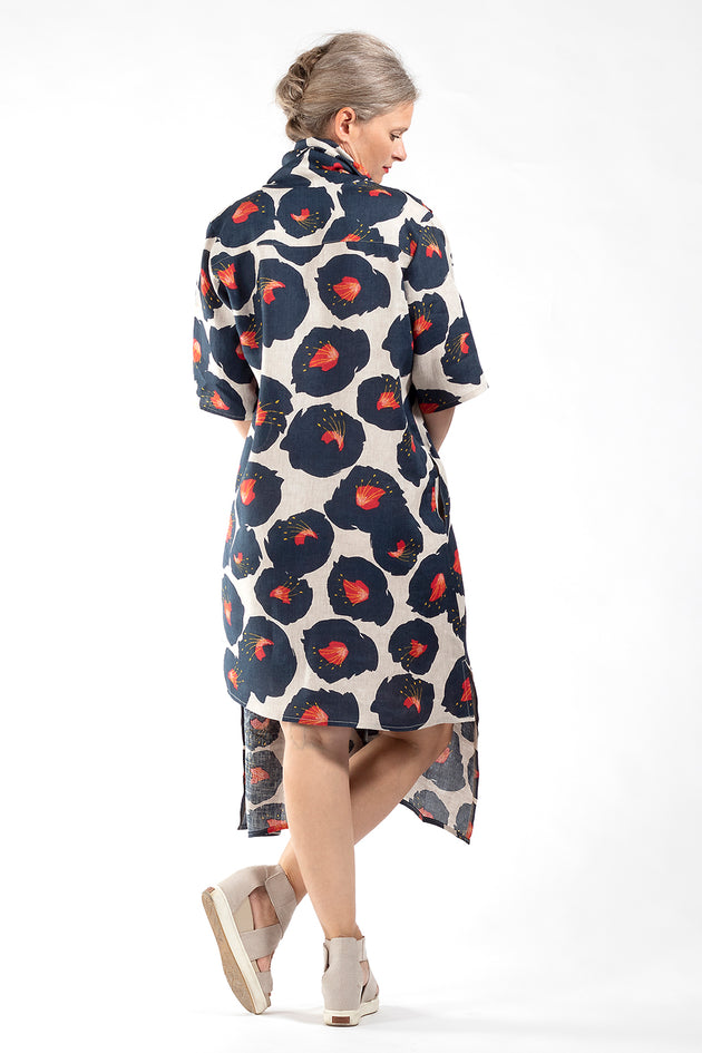 One of a Kind Dress #00265 - Poppy print linen-back view - Lennard Taylor