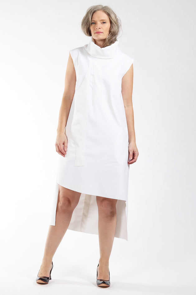 One of a kind #00298 - white bonded fabric dress - front view - Lennard Taylor
