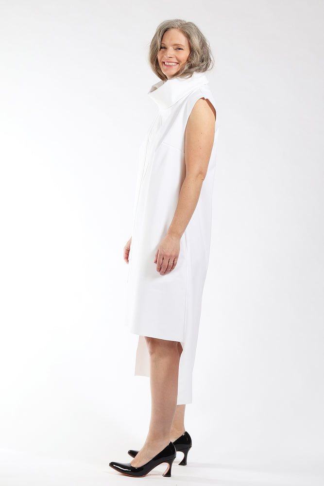 One of a kind #00298 - white bonded fabric dress - side view 2 - Lennard Taylor