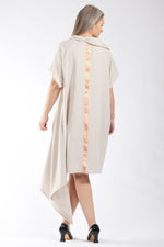 One of a Kind #00312 - linen dress with copper detail - side view 2- Lennard Taylor