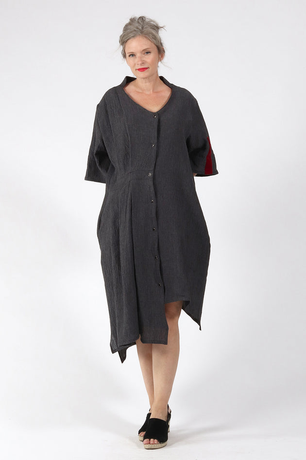 One of a kind #00260-Grey Linen dress-front 1 - Lennard Taylor