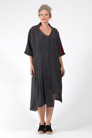 One of a kind #00260-Grey Linen dress-front 2 - Lennard Taylor
