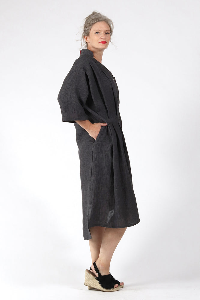 One of a kind #00260-Grey Linen dress-side - Lennard Taylor